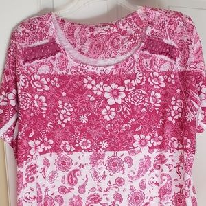 Womens pink floral t